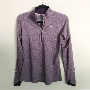 Nike quarter zip drifit pullover purple marl sz S